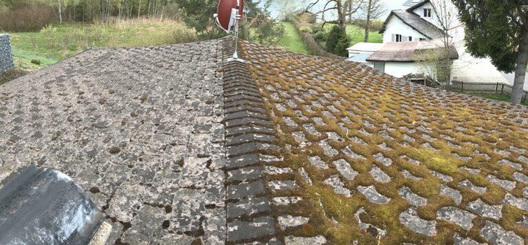 moos auf eternit dach reinigen vorher